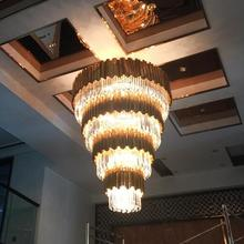 Stainless steel crystal ceiling light modern brief project customize circle lamps luxury for the hotel lobby