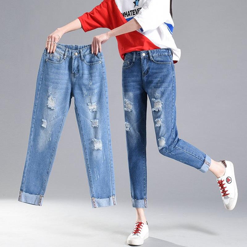 High Waist Hole 2018New Female Haren Loose Women Pants Woman Fashion Broken Torn Ripped Jeans Student Girl Denim Cheap Wholesale
