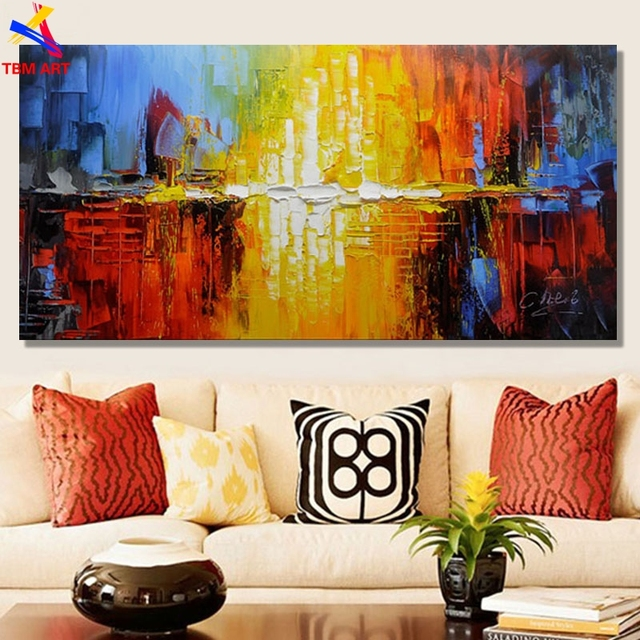 Large Red Color Picture Hand painted Modern Abstract Oil Painting on ...