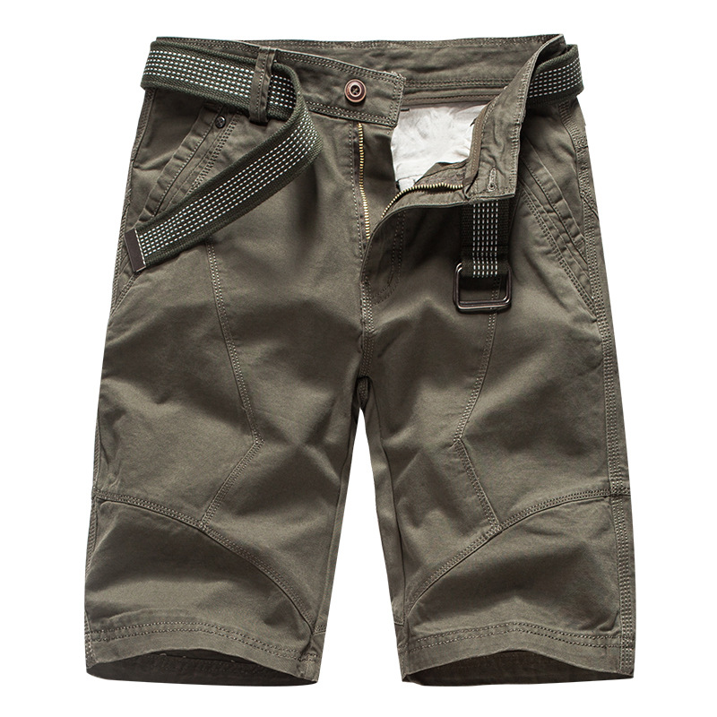 2019 Summer Mens Cargo   Shorts   Brand Green Army Military Tactical   Shorts   Men Cotton Loose Work Casual   Short   Pants No Belt