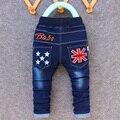 2016 новое прибытие ребенок джинсы брюки мальчик прохладно джинсовой вышивка Малыш звезды брюки 2-5 лет