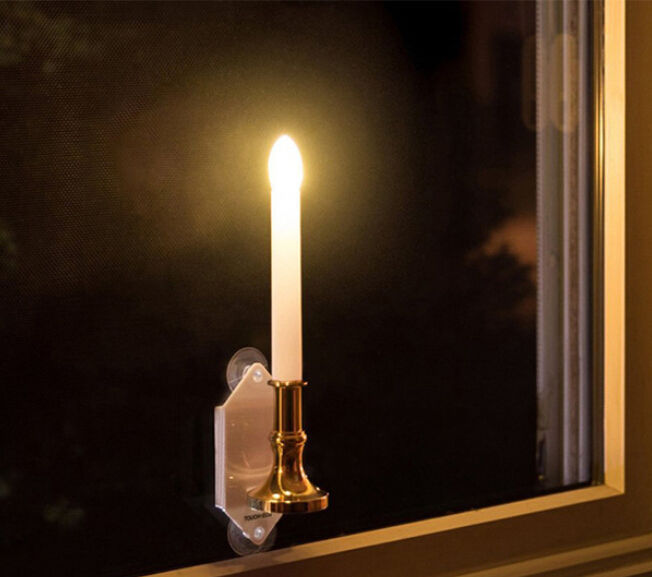 NEW Outdoor Solar Candle Light White Wall Lamp Light Festive Decoration 2Pcs