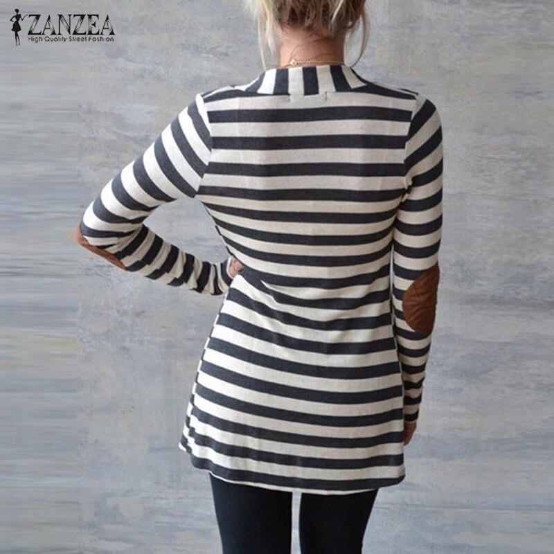 Jacke Plus Größe 2019 Frauen Strickpullis Gestreifter Mantel - Damenbekleidung - Foto 4