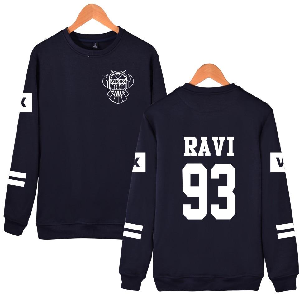 Mikiny pro fanoušky VIXX Kpop Podpora Členský název Tištěné Vixx 93 RAVI HONGBIN Fleece mikiny svetr Černá mikina s kapucí Korean Clothes