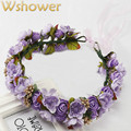 Fashion Women Fabric Flowers Wedding Bridal Tiara Manual Crown Headband Head Wreath Headwear Foam Floral hair accessories