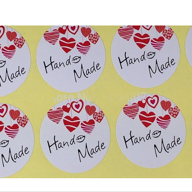DIY Hand Made White And Red Sticker Label Sealing Label Sticker Custom Design MOQ : 1000 PCS Custom LOGO FEE 35mm