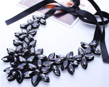New Arrival Rope Black Ribbon Bib Necklaces Bohemian Resin Crystal Flowers Choker Necklaces & Pendants For Women Summer Jewelry