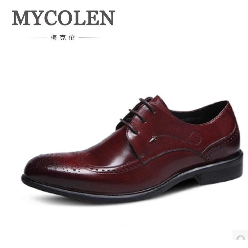 MYCOLEN HOT Sale Italian New Fashion Style Luxury Genuine Leather Party And Wedding Evening Dress Shoes Business Brand Men Shoes hot sale italian style men s flats shoes luxury brand business dress crocodile embossed genuine leather wedding oxford shoes