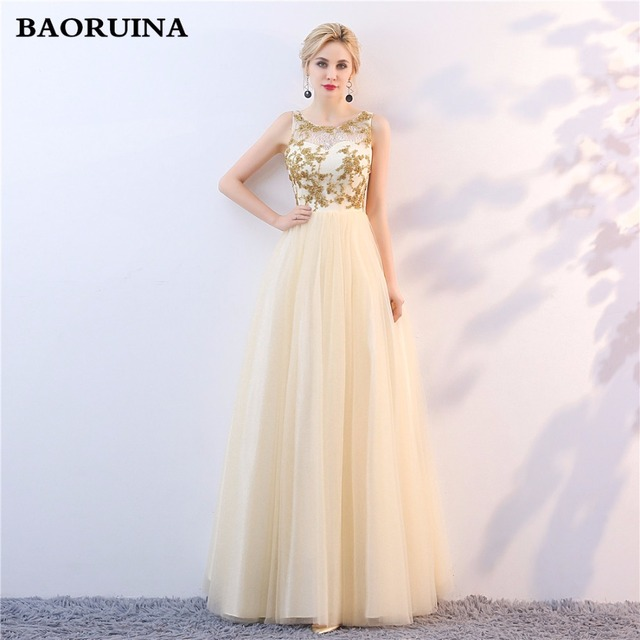 Evening Dresses Long Plus Size Tulle Beaded Prom Party Gown Robe De ...