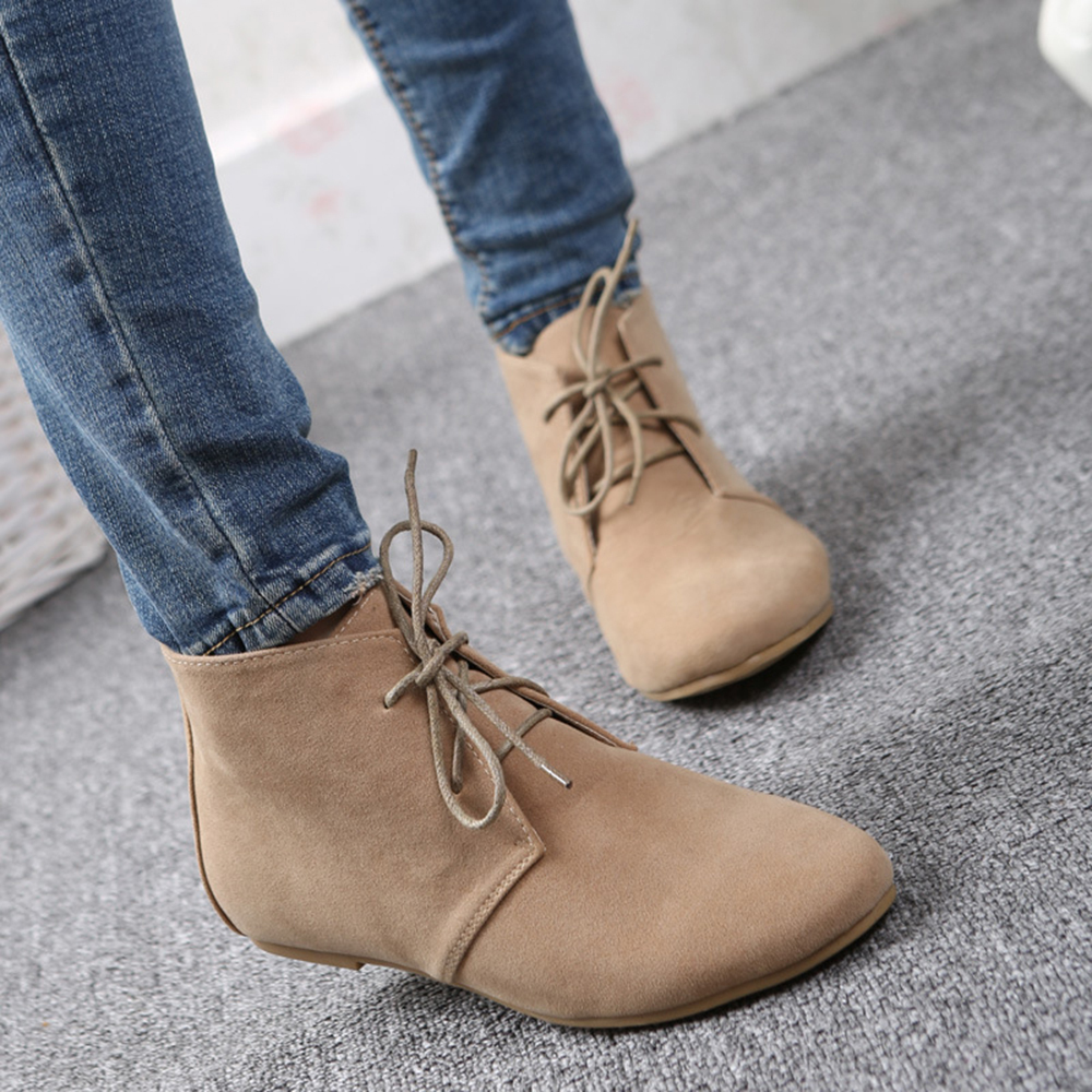 Fashion Women Ankle Boots Flock Pointed Toe Lace Up Flat Boots Black Brown  Beige European Size 35-40 SH013 815649fe3