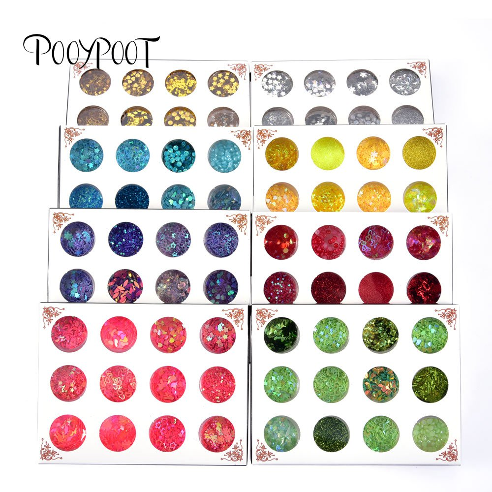 Pooypoot Nail Glitter Sequins Sparkly Star Heart Flakes Rhinestone Nail Art Decorations Nail Gel Pigment Powder DIY Tips Tools
