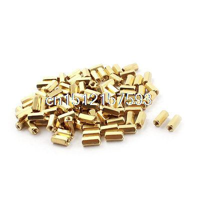100Pcs M3x10mm Gold Tone Brass Pillar PCB Standoff Hexagonal Nut Spacer 39pcs m3x6mm machine boards hexagonal threaded spacer gold tone
