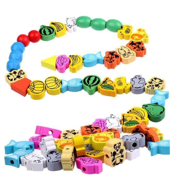 26 ピース/ロット木のおもちゃ漫画の動物のフルーツビーズのストリングスレッディングビーズゲーム教育玩具ベビーキッズ子供のための WYQ