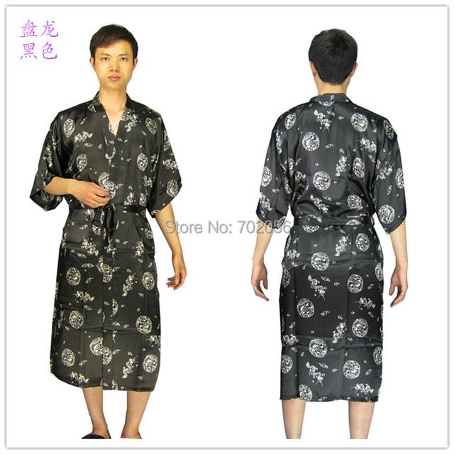 Mens rayon Robe de seda Lingerie pijama camisola Kimono vestido de pijama pijamas chinês tradicional 8 cor 3799