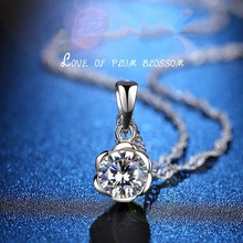 Everoyal Vintage 925 Sterling Silver Jewelry Necklace For Women Bijou Exquisite Crystal Flower Girl Pendant Female Gift