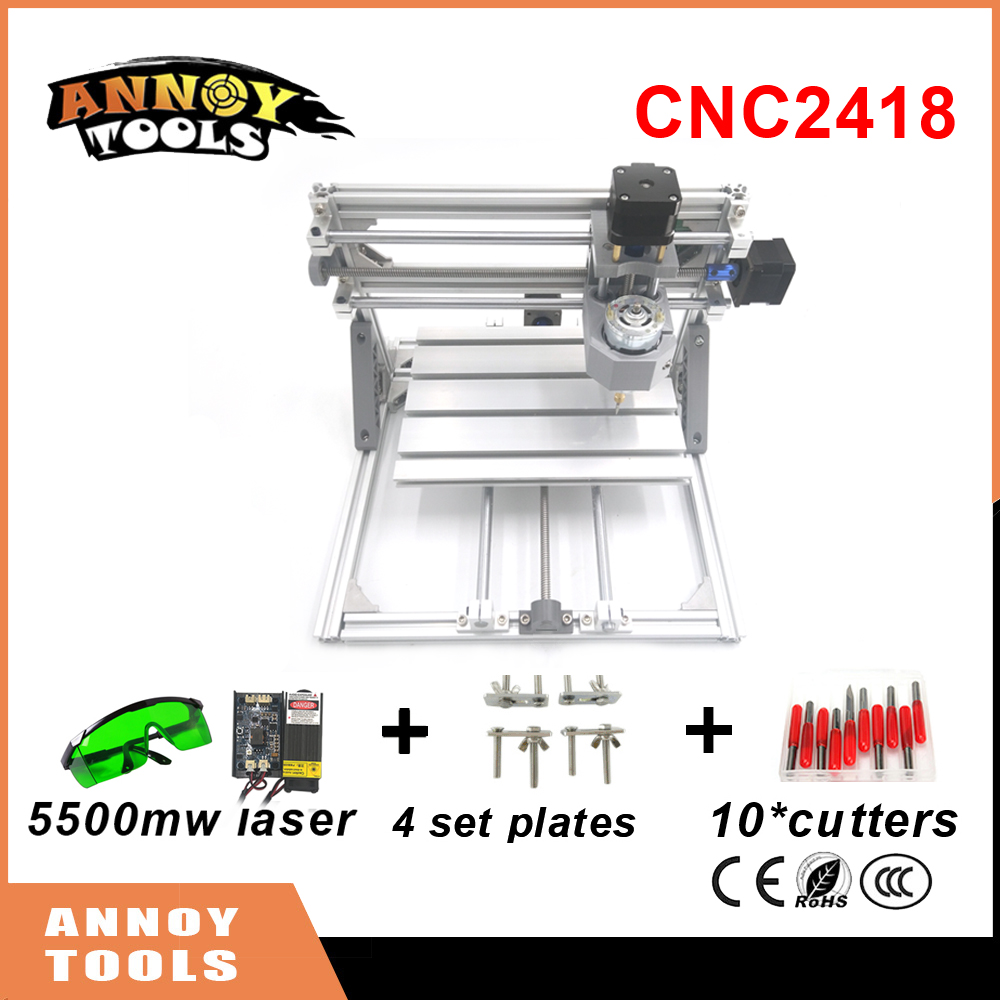 CNC 2418 mini diy CNC laser engraving machine 0.5W-5.5W laser, Pcb Milling Machine,Wood Carving machine,GRBL control CNC Router
