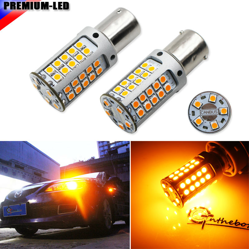(4) No Hyper Flash 21W High Power Amber BAU15S 7507 PY21W 1156PY LED Bulbs For Car Front or Rear Turn Signal Lights,CANBUS 12V