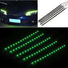 5pcs Car Styling auto waterproof flexible LED Strip Ribbon Decor Light 30cm SMD 3528 15 LED daytime running light 3 Color
