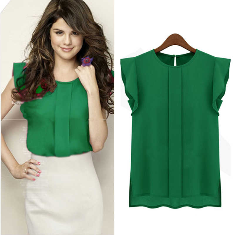 OL летняя элегантная женская блузка Офисная Женская Однотонная синяя зеленая шифоновая рубашка с коротким рукавом Повседневная Блузка пуловер