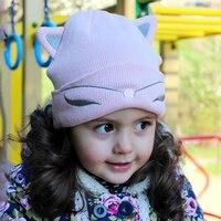 2 pcs Mum & Criança chapéu Feito Malha Bebê Chapéu Orelha de Gato Gorro De Lã Mulher chapéu de Esqui Cap Meninas Chapéus Mulheres Caps Meia Outono Lotação chapéu