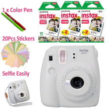 Fujifilm Instax Mini 9 Instant Camera Smoky White + 50 Photos Fuji Instant Mini 8 White Frame Film + Free 20pcs Stickers & Pen(Hong Kong,China)