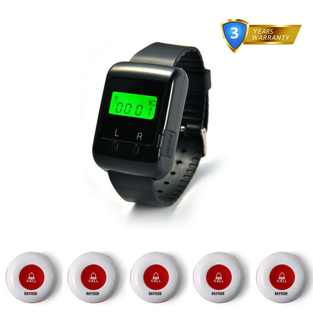 Wireless Call Button Buzzer 433MHZ Restaurant Hospital Waiter Calling System Service Wrist Watch Pager system wireless pager system 433 92mhz wireless restaurant table buzzer with monitor and watch receiver 3 display 42 call button