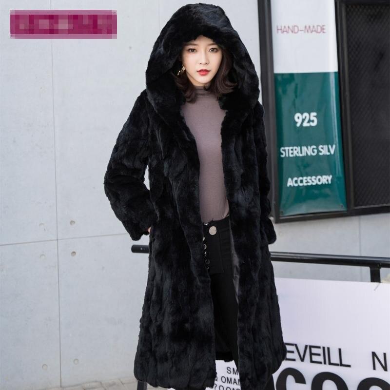 Natural Rex Rabbit Fur  Winter Woman Coats Long 2019 Fashion Genuine Fur Coats Women Real Rex Rabbit Fur Coat Warm