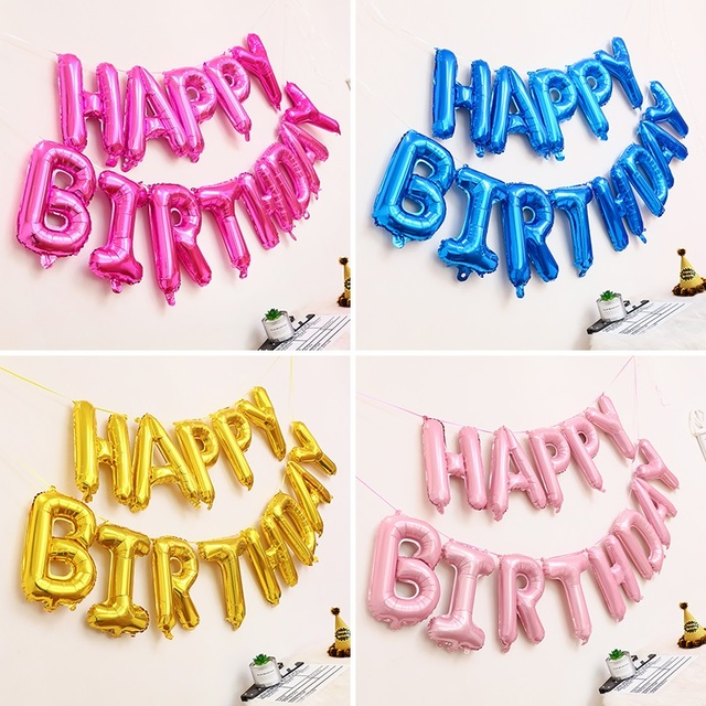 Happy Birthday Balloons Alphabet Brief Hangen Geburtstag Party Dekoration Kinder Goldene Silber Rosa Blau Folie Ballons
