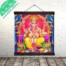 купить!  Индуистский Бог Ганеша Красный Свиток Живопись Холст Урожай Плакат и Отпечатки Wall Art Picture  Лучший!