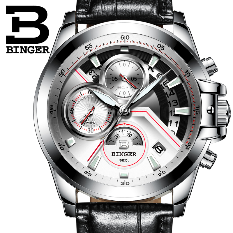 2018 Men Watches Luxury Top Brand BINGER Big Dial Designer Chronograph Water Resistant stainless quartz Wristwatches B-9016-5 weide high quality watch men luxury brand big dial 3atm water resistant stainless steel back lcd wristwatches with alarm items