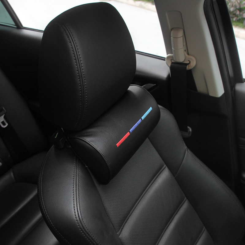 Car Styling Seat Neck Pillow Protection PU Auto Headrest Support Rest Travelling Car Headrest Neck For BMW ///M Accesories