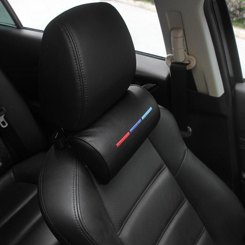Voiture style siège cou oreiller Protection PU Auto appui-tête soutien repos voyage voiture appuie-tête cou pour BMW///M accessoires