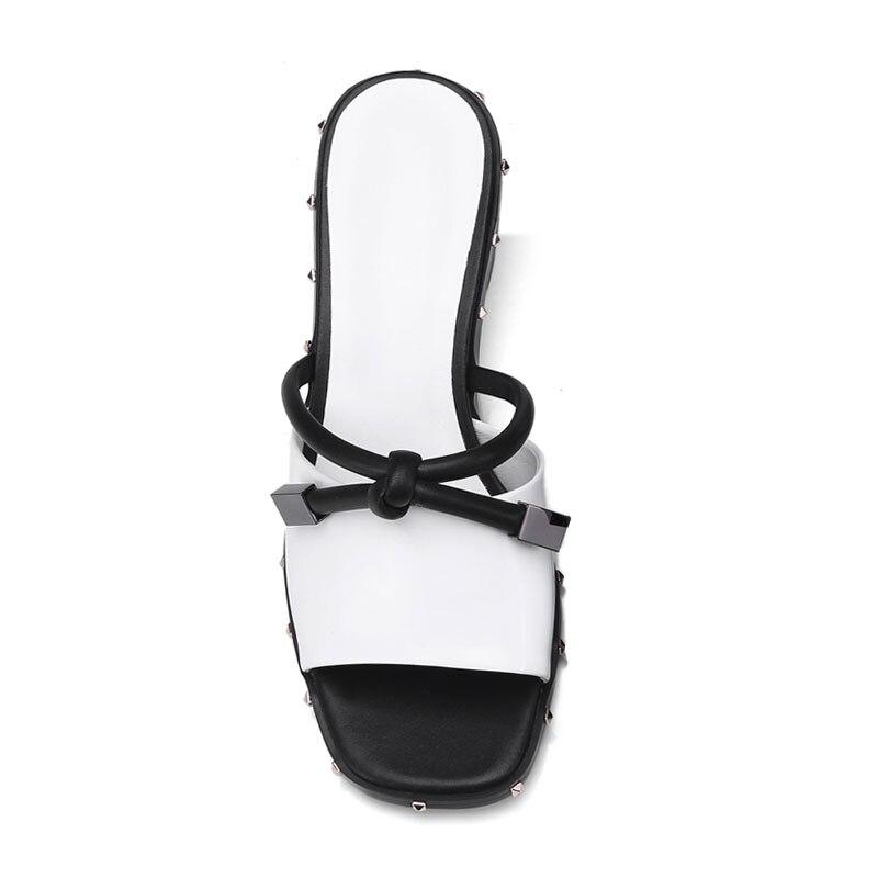 Fanyuan pantoufles femmes chaussures d'été talons hauts en cuir de vache Rivet gladiateur Slingback sandales décontracté bureau dames tongs - 5