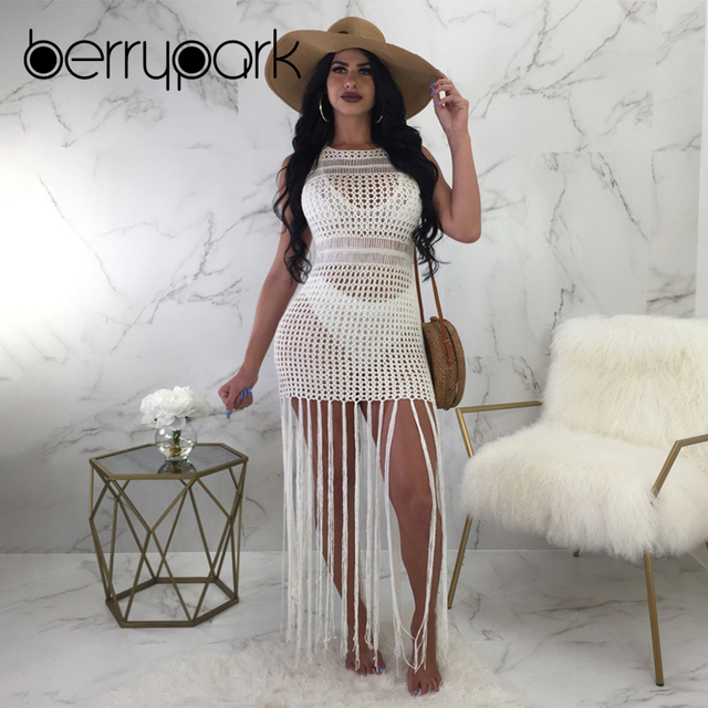 7f0f6f2c09072 BerryPark Sexy Fish Net Tassel Bikini Cover Up Reversible Dress Women 2019  Hollow Out Knit Crochet Tunic Swim Suit Beach Wear