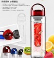 Free shipping new Hot  700ML Red cap Fruit Infusing Infuser Water Bottle with box Sports Health Lemon Juice Make BottleU0297