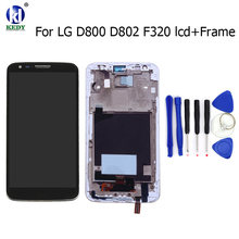 For LG G2 D800 D801 D803 D802 D805 F320 VS980 LS980 LCD Display Touch Screen Digitizer with Bezel Frame Assemble Repair Parts(China)