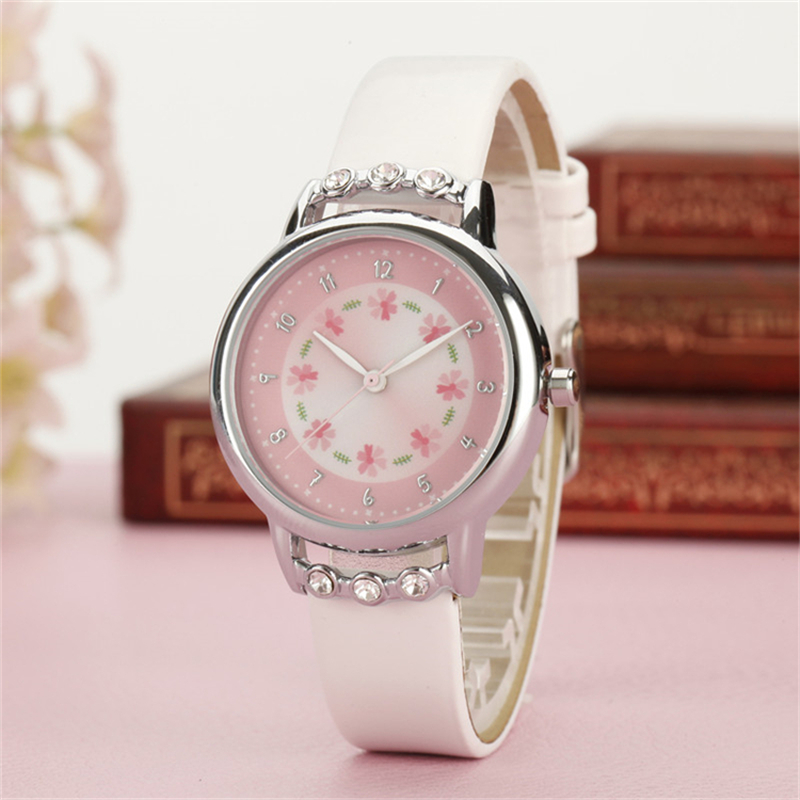 Kezzi Girls Children Kids watches Rhinestone Flower Leather strap Wristwatches Student Cartoon Quartz Watch k1410 montre