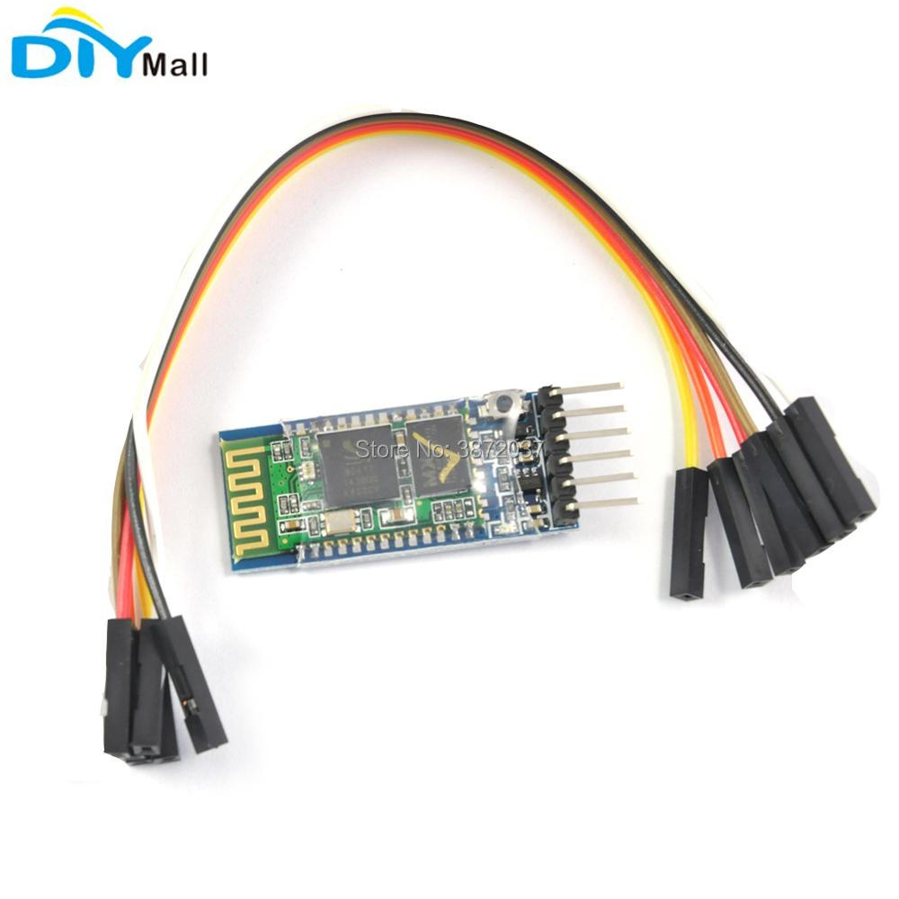 5pcs/lot HC-05 Wireless Bluetooth Serial Transceiver Master Slave Module +  Female to Female 6Pin Dupond Cable