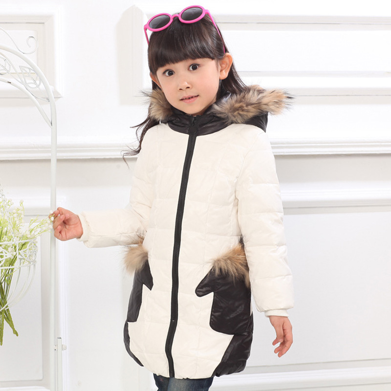 ФОТО Girl Winter Coat New Casual Girl Winter Down Jacket Kids Warm Jacket Fur Collar Hooded Coat Clothes Winter Girl Patchwork Jacket