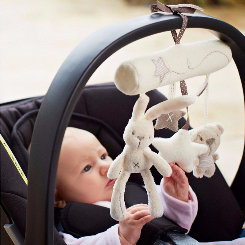 Plush Cute Rabbit Star Newborn Baby Music Hanging Bed Bedroom Decor Safety Seat Plush Toy Stroller Accessories Gifts(China)
