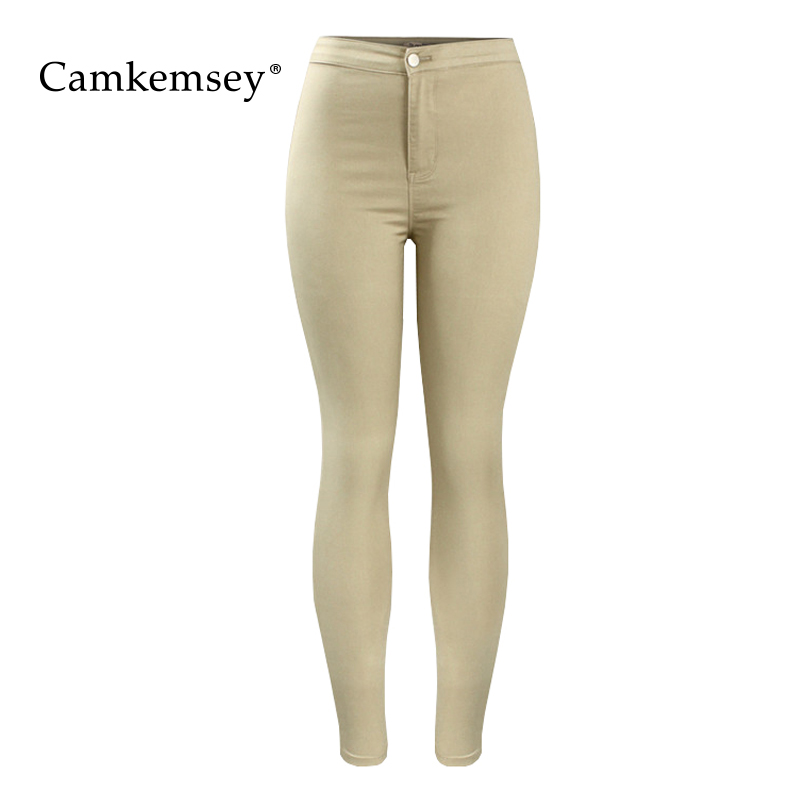 CamKemsey 2018 New Women Candy Color Hot Curvy High Waist Stretch Skinny Jeans Woman Casual Cotton Denim Bodycon Pencil Pants image