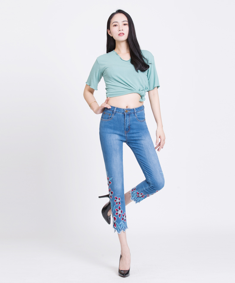 KSTUN FERZIGE Summer Jeans Women Embroidery High Waist Stretch Floral Push Up Skinny Slim Fit Pencils Calf-Length Pants Light Blue 36 11