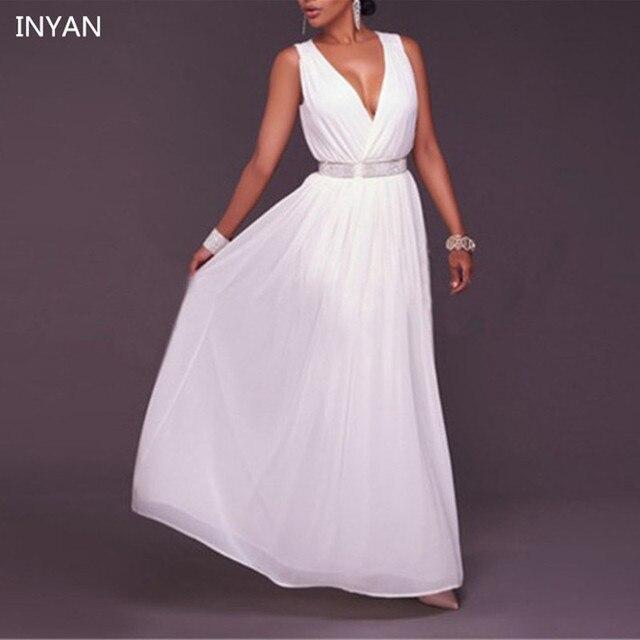 a70df95643c05 Zarif Kadın Kolsuz İmparatorluğu Beyaz Kat Uzunluk Uzun Seksi Elbise Derin  V Yaka Yarık Düz Şifon