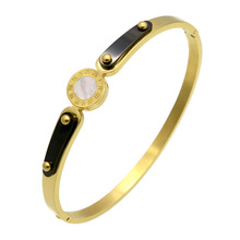 Pear With Roman Numerals Bracelet Punk Screw Bracelet For Female Pulseira Gold Plated Stainless Steel Brand Love Bangle Jewelry