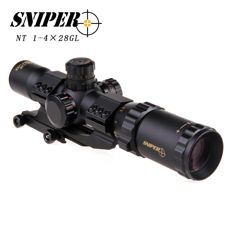 SNIPER NT1-4×28GL Hunting Riflescopes Adjustable Red Hunting Light Tactical Scope Reticle Optical Rifle Scope Fast Focus