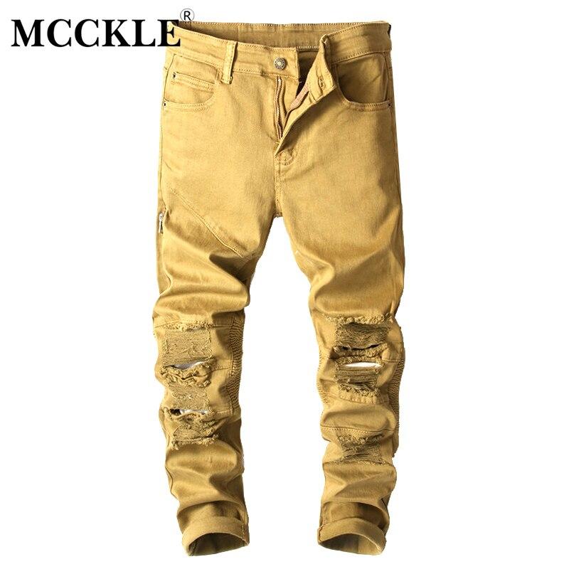 2017highquality mens ripped biker jeans 100 MCCKLE 2017Autumn Ripped Rider Biker Jeans Hi-Street Mens Slim Fit pleated motorcycle biker zipper jeans hip hop strech for men