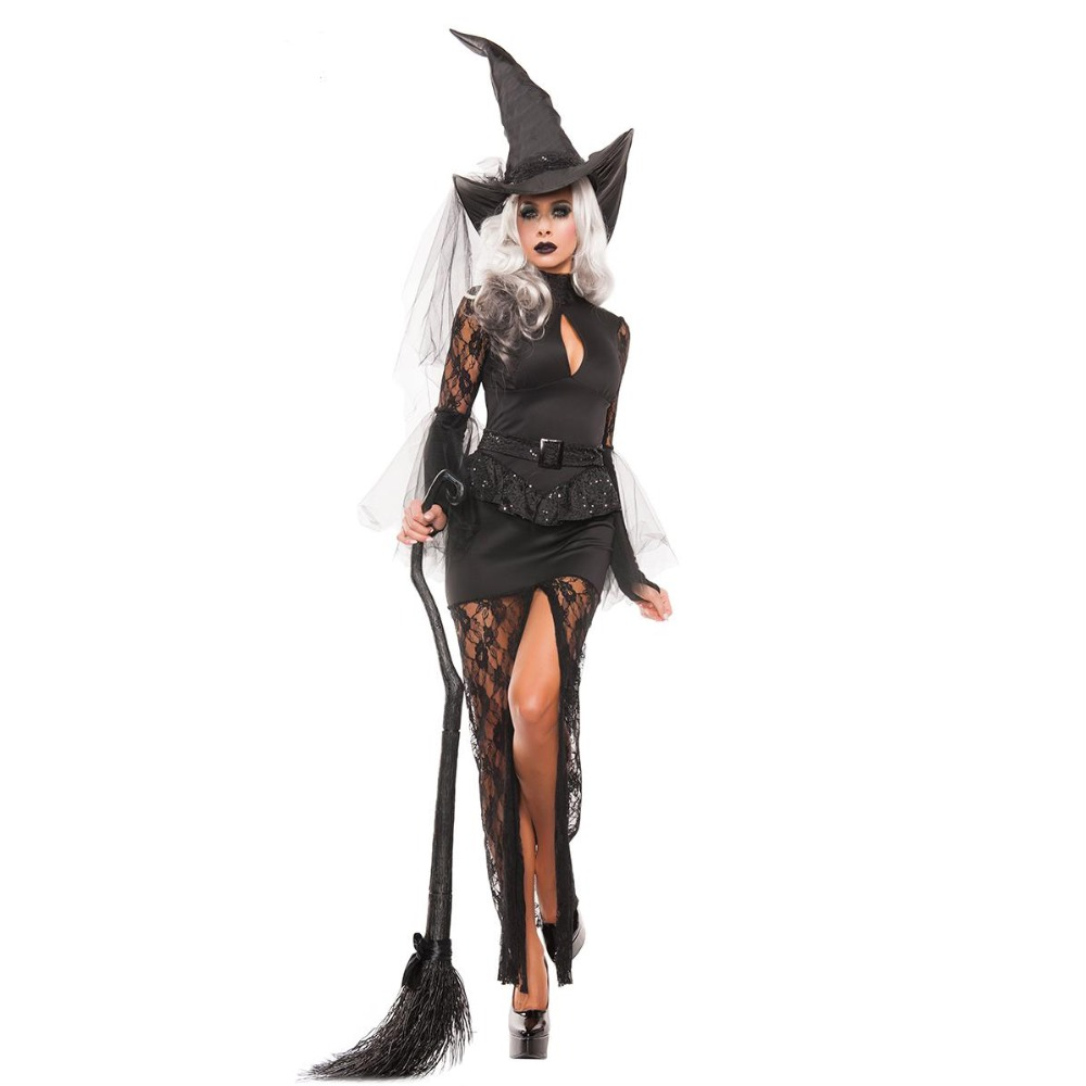 UTMEON New Black Sexy Halloween Women Black Sleeping Beauty Witch Queen Costumes Carnival Party Cosplay Fancy Dress