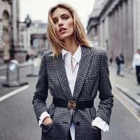 Thick Blazers Women Suit 95% Wool Blends Fabric Long Sleeve Breasted Single Button Ladies Work Office Clothing 2018 New Fashion