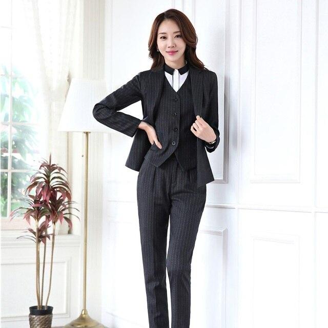 bc9cf65474c34 Nouveau Mode Automne Hiver Professionnel Femmes D affaires Blazers Avec 3  pièces Vestes + Pantalon