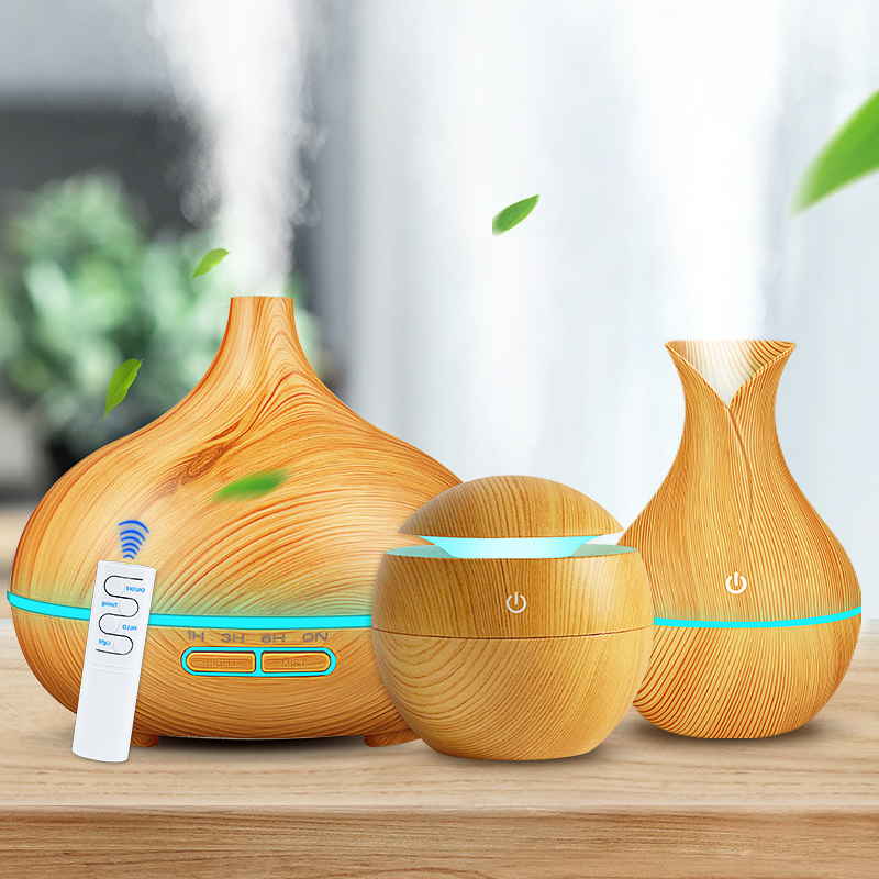 Bundle 3-piece Set Air Humidifier Aroma Essential Oil Diffuser Ultrasonic Cool Mist Purifier 7 Color Change LED Night For Home
